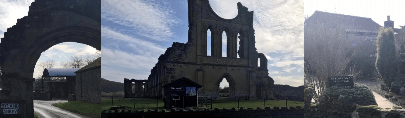 Byland Abbey and The Black Swan at Oldstead