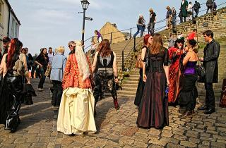 Goths at the bottom of the 199 steps in Whitby