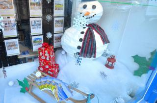 Our snow themed window at Ingrid Flute's Whitby office
