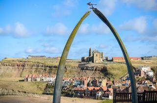 Whitby and its famous Whale Bones on the West Cliff