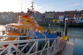 Ingrid Flute Yorkshire Holiday Cottages staff and the Whitby Lifeboat