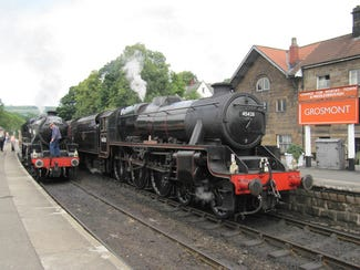 Steam trains in the station at Grosmont