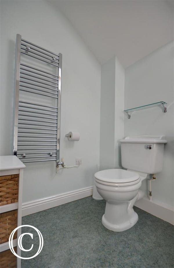 Bathroom with shower over bath, wash basin and toilet.