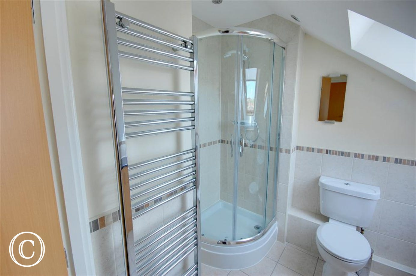 A view of the modern Bathroom with its spacious shower.