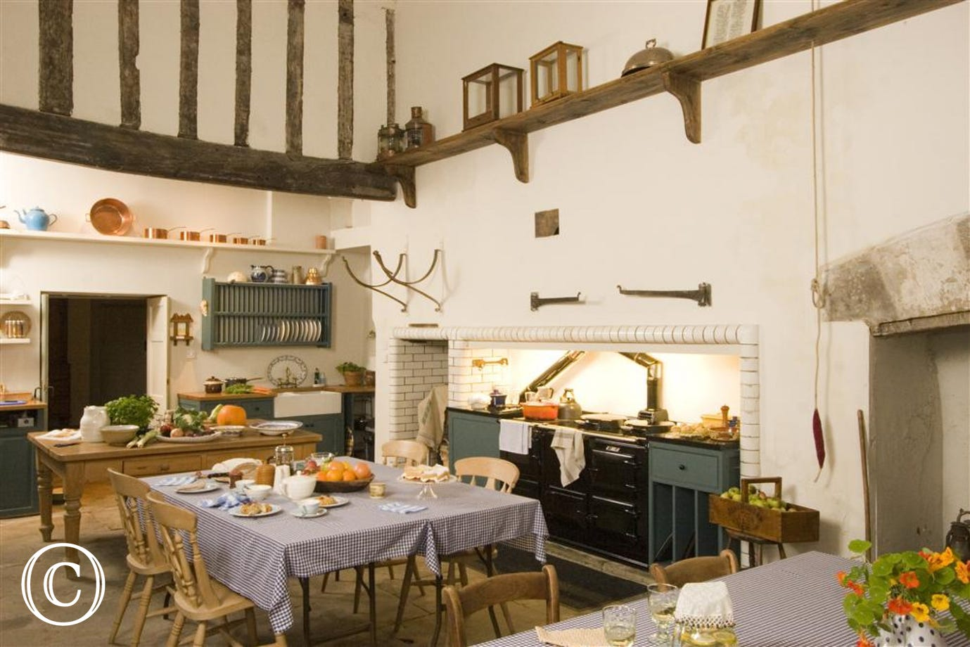 The amazing Tudor Kitchen with original beams