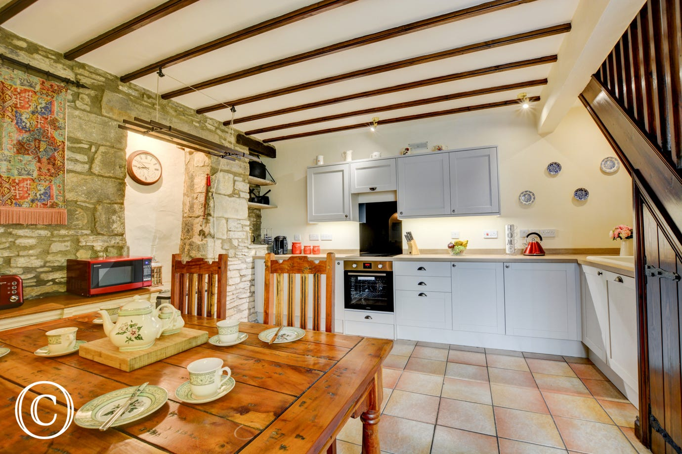The traditional kitchen, newly fitted and spacious