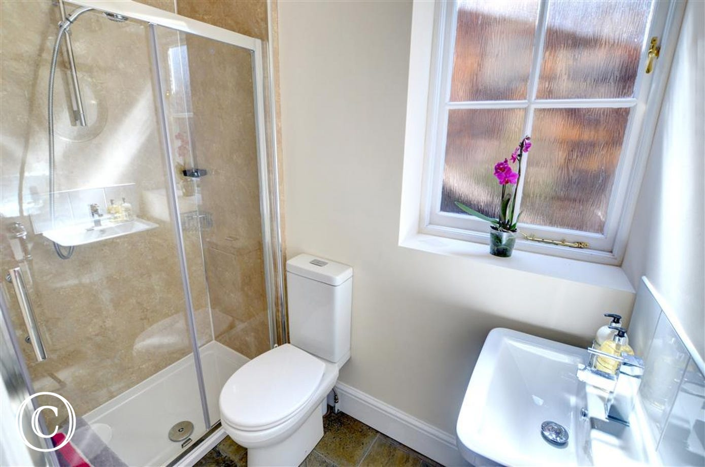 Modern bathroom with large shower cubicle.
