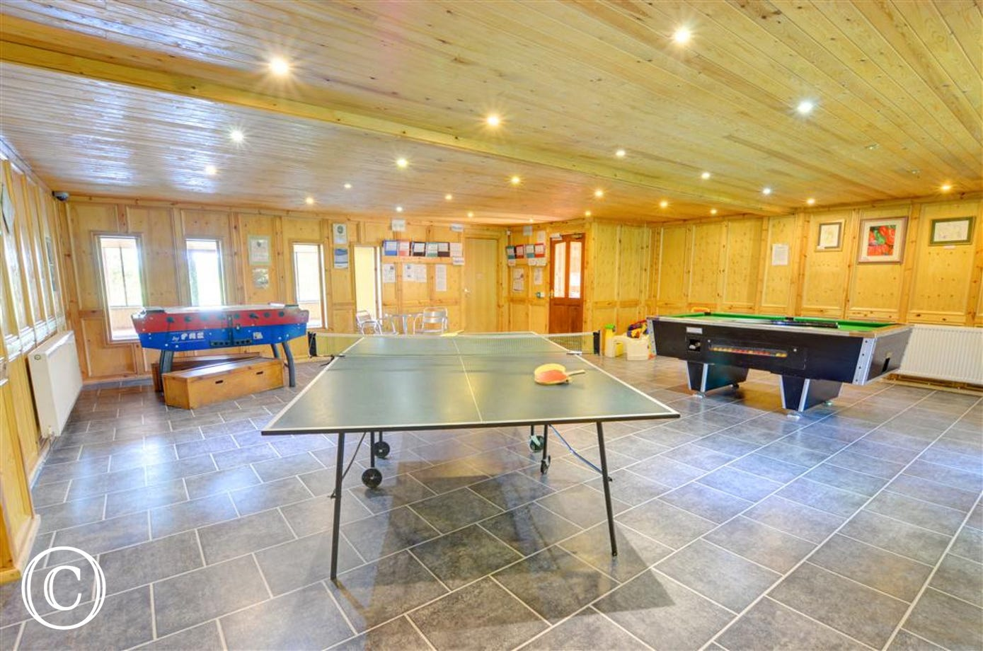 Large bright and airy games room.