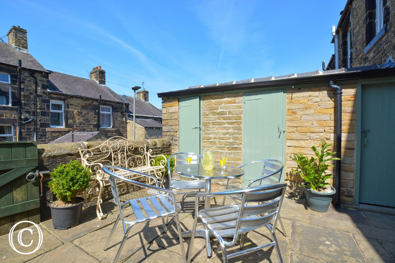 Sunny patio area at Green Gable