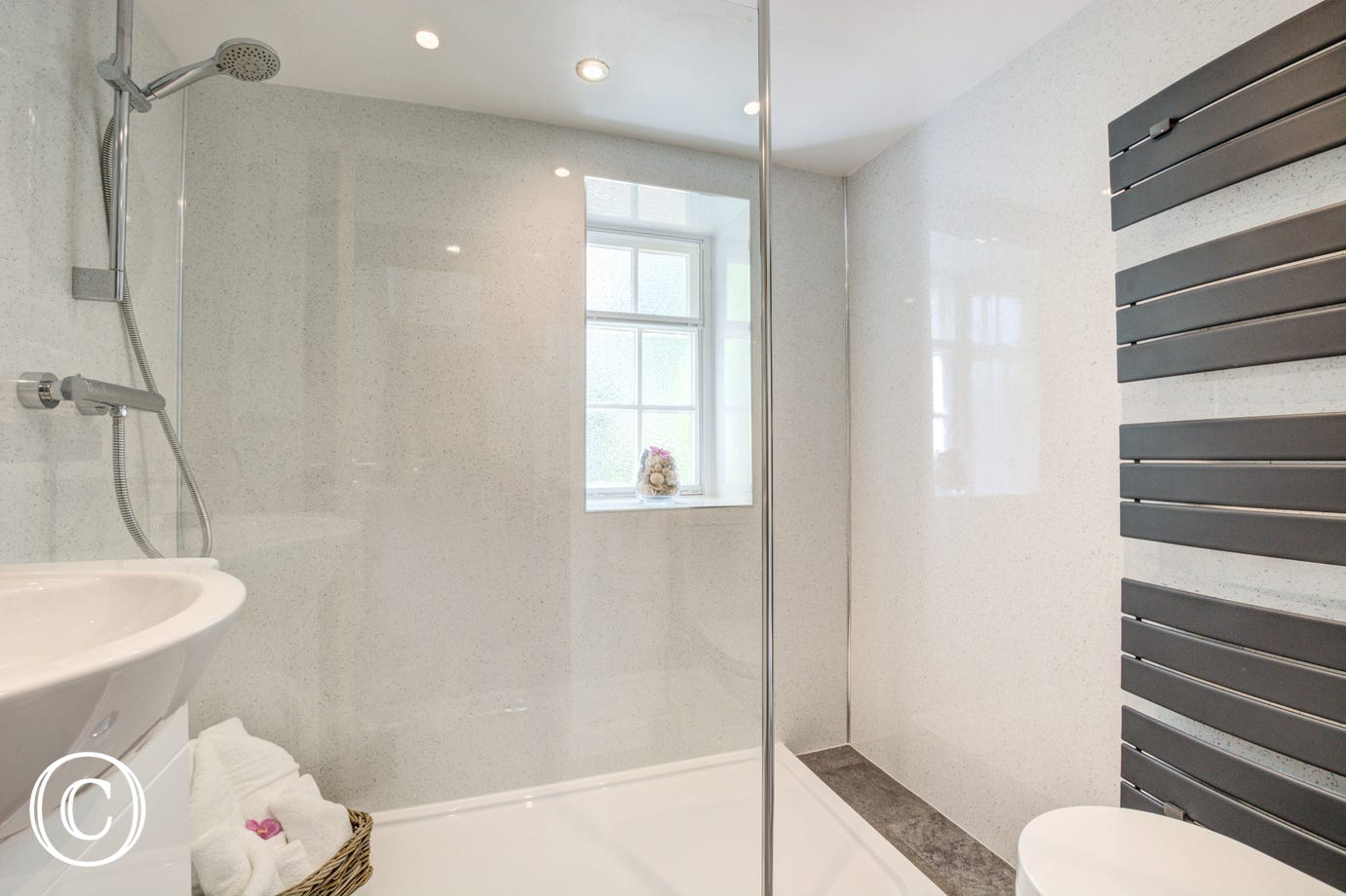 Spacious shower in the bathroom