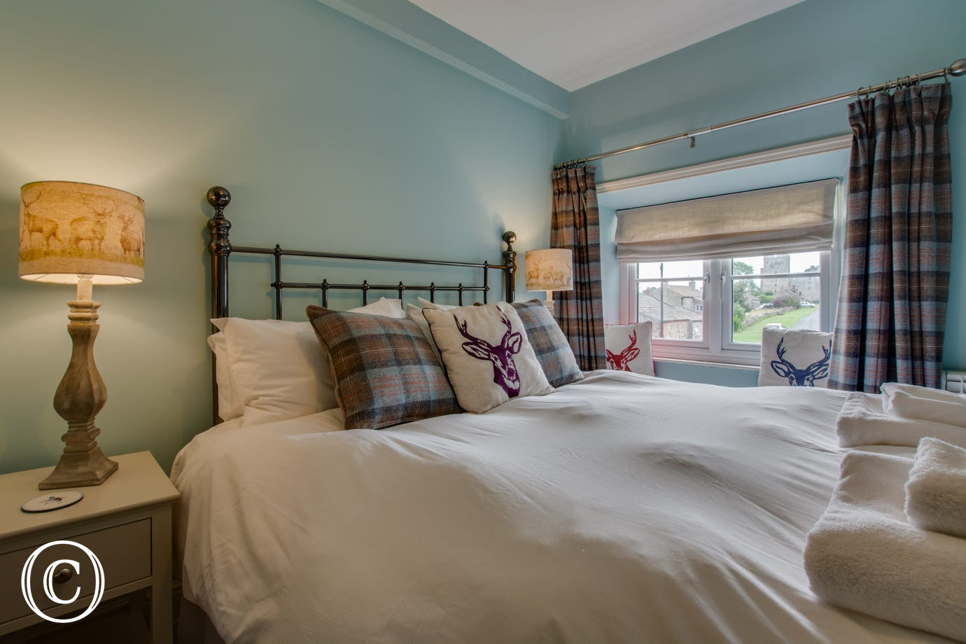 Master bedroom with views towards Castle Bolton