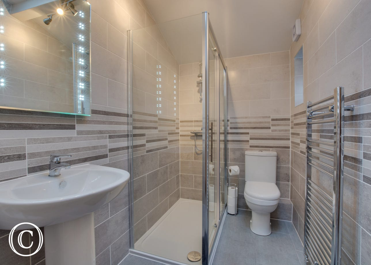 Modern house bathroom with underfloor heating