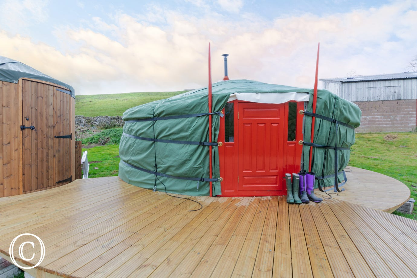 Exterior of the cosy yurt