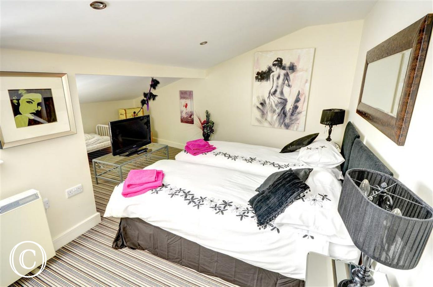 Twin Bedroom with single beds which can be made into a double if requested. There is also a small child's bed in this room if required.