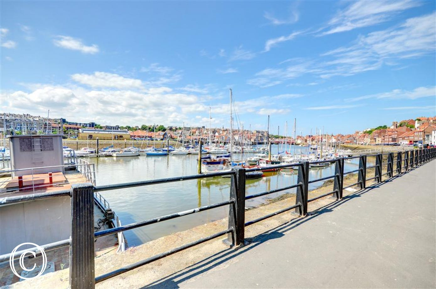 Directly opposite the property are fantastic views across the Harbour and Marina which can be enjoyed whilst walking the short distance to Whitby town centre.
