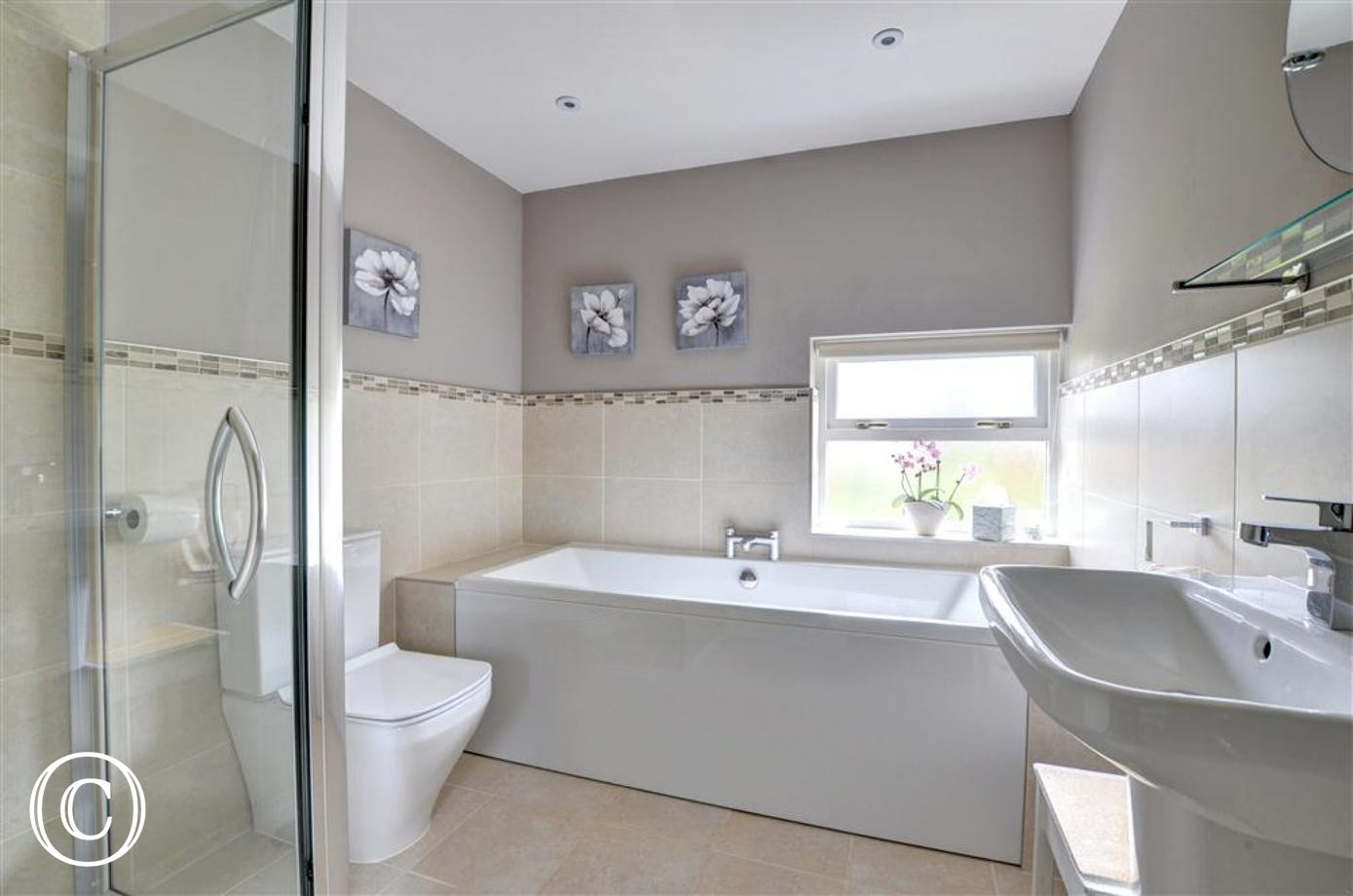 Beautiful family Bathroom which includes a separate bath and shower as well as underfloor heating.