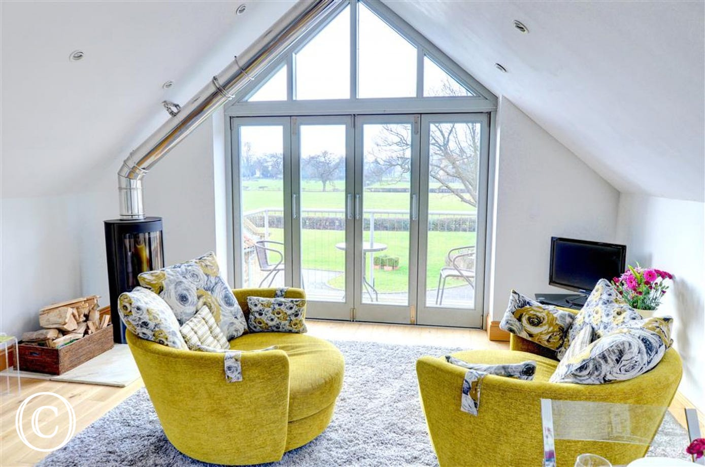The lounge offers some beautiful views on the surrounding countryside.