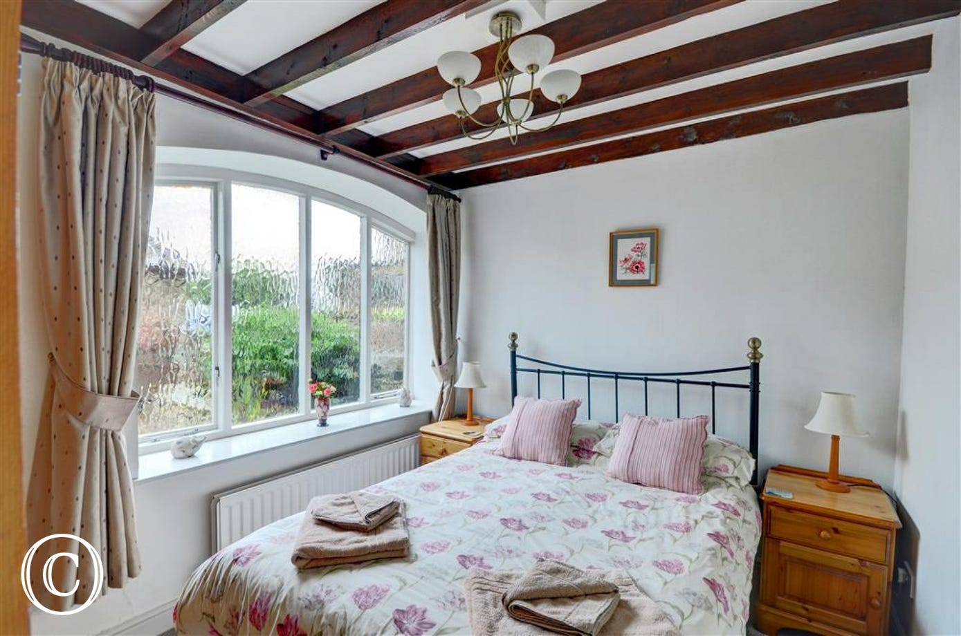 Light and airy bedroom at West Close Cottage