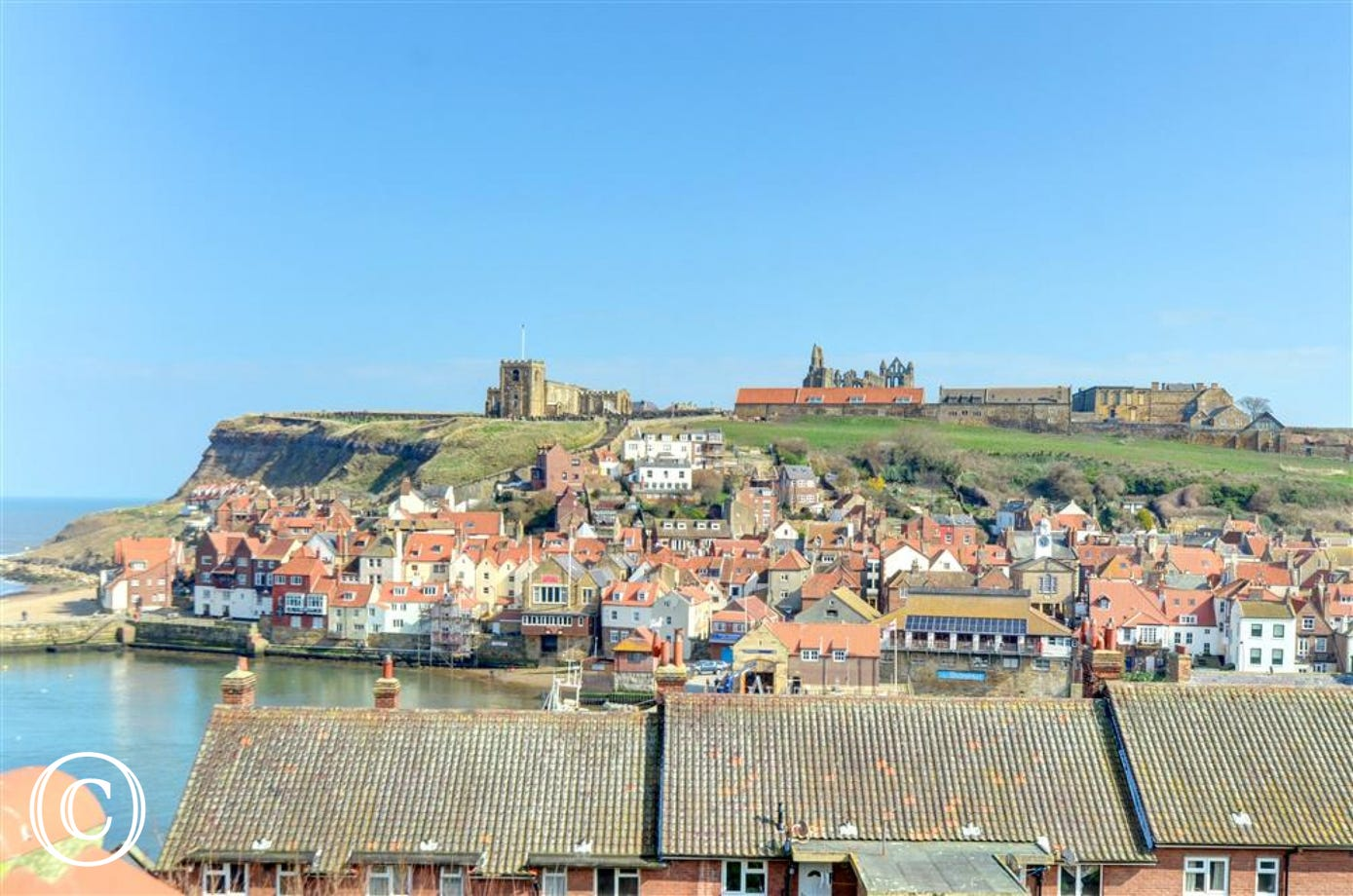 Breathtaking views from the upper bedroom over Whitby Abbey and the Harbour.