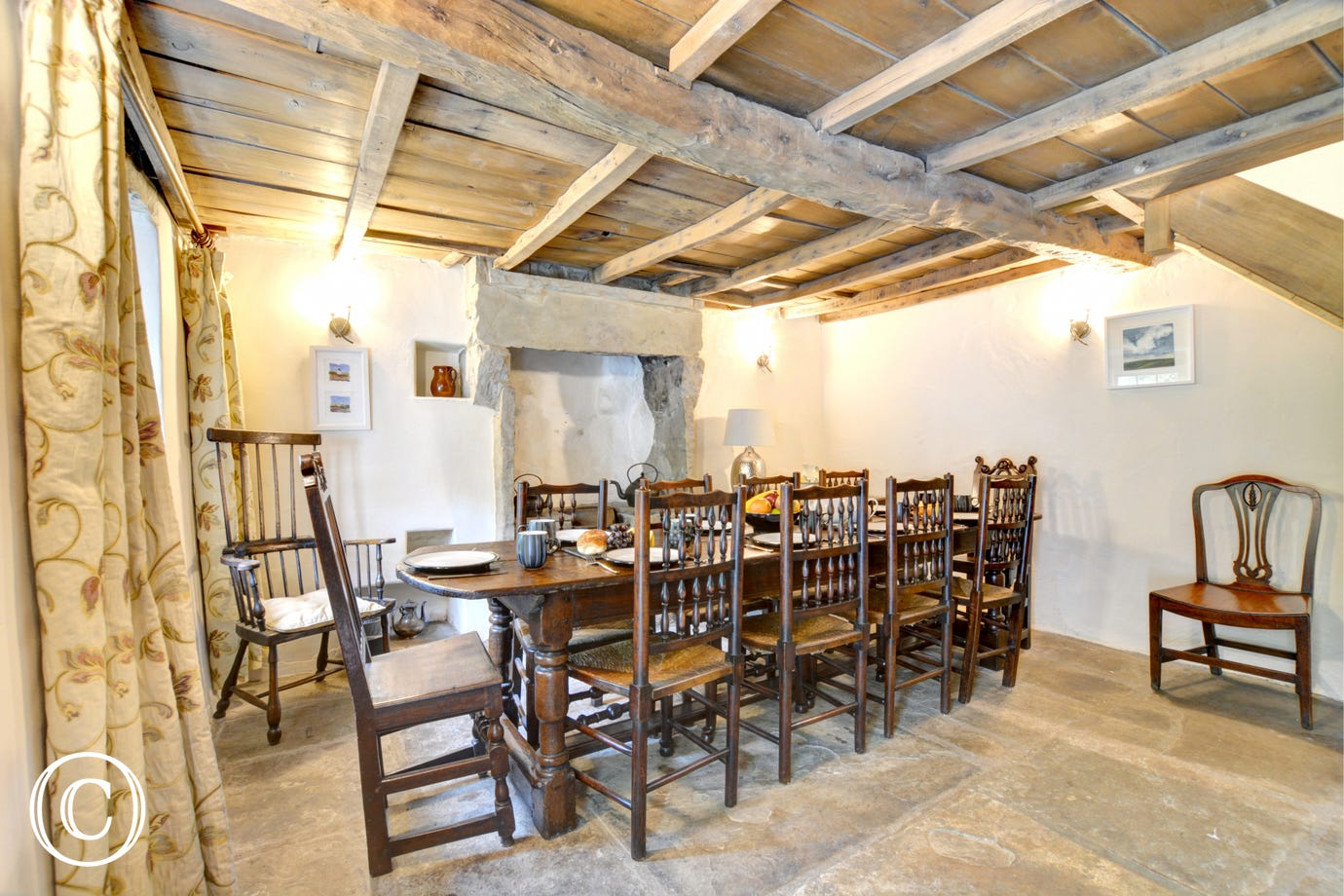 The characterful dining room is perfect for special occasions.
