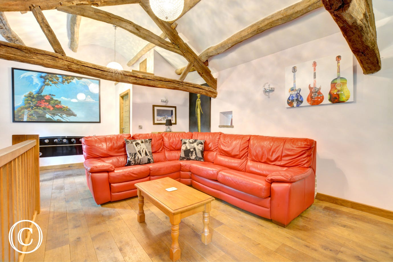 The games room has fabulous exposed beams.