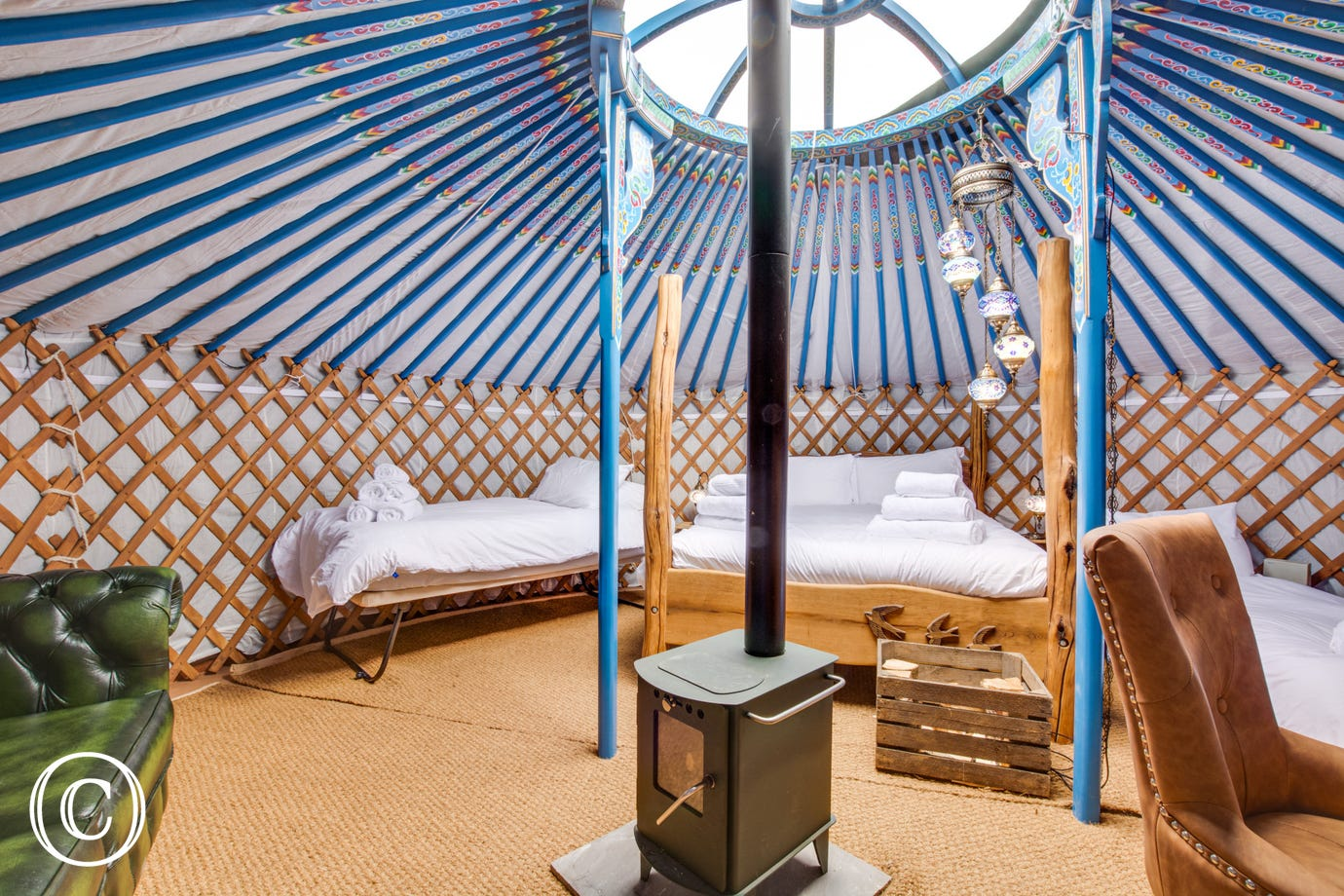 King-size bed at Swallow Yurt