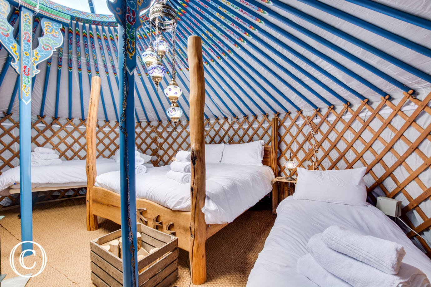Open plan living at Curlew Yurt