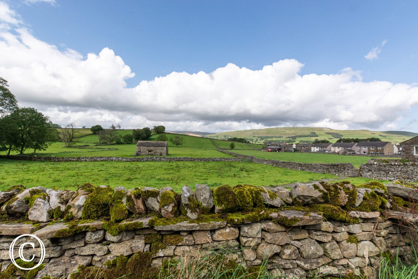 The view over the Wensleydale countryside from the patio area