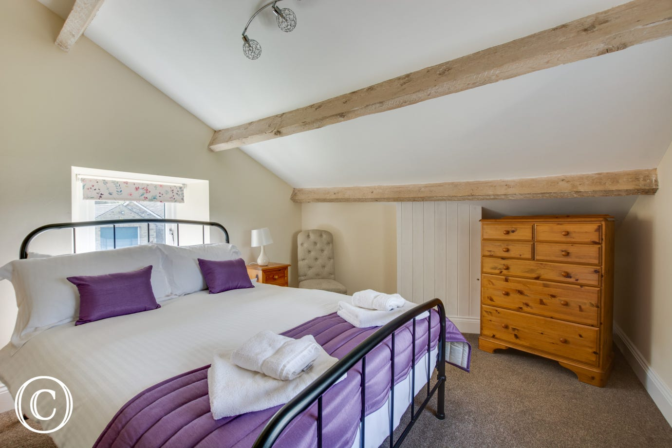 Double bedroom with beamed ceiling and views over the beautiful Wensleydale countryside