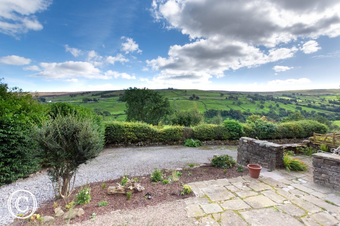 The view over stunning Swaledale from the garden
