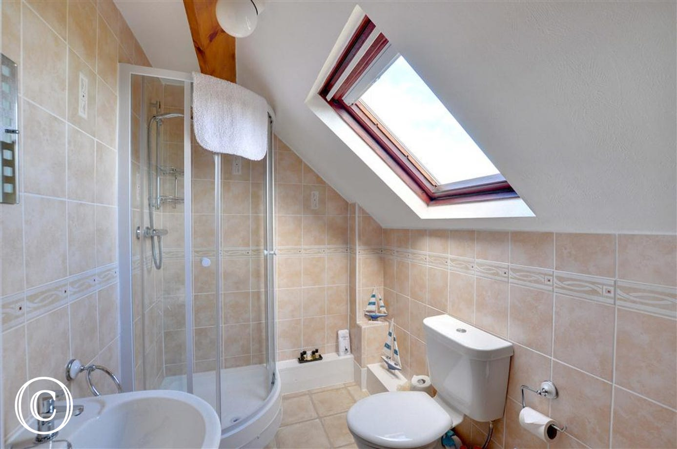 Modern Bathroom with spacious shower and Velux window which lets it plenty of light.