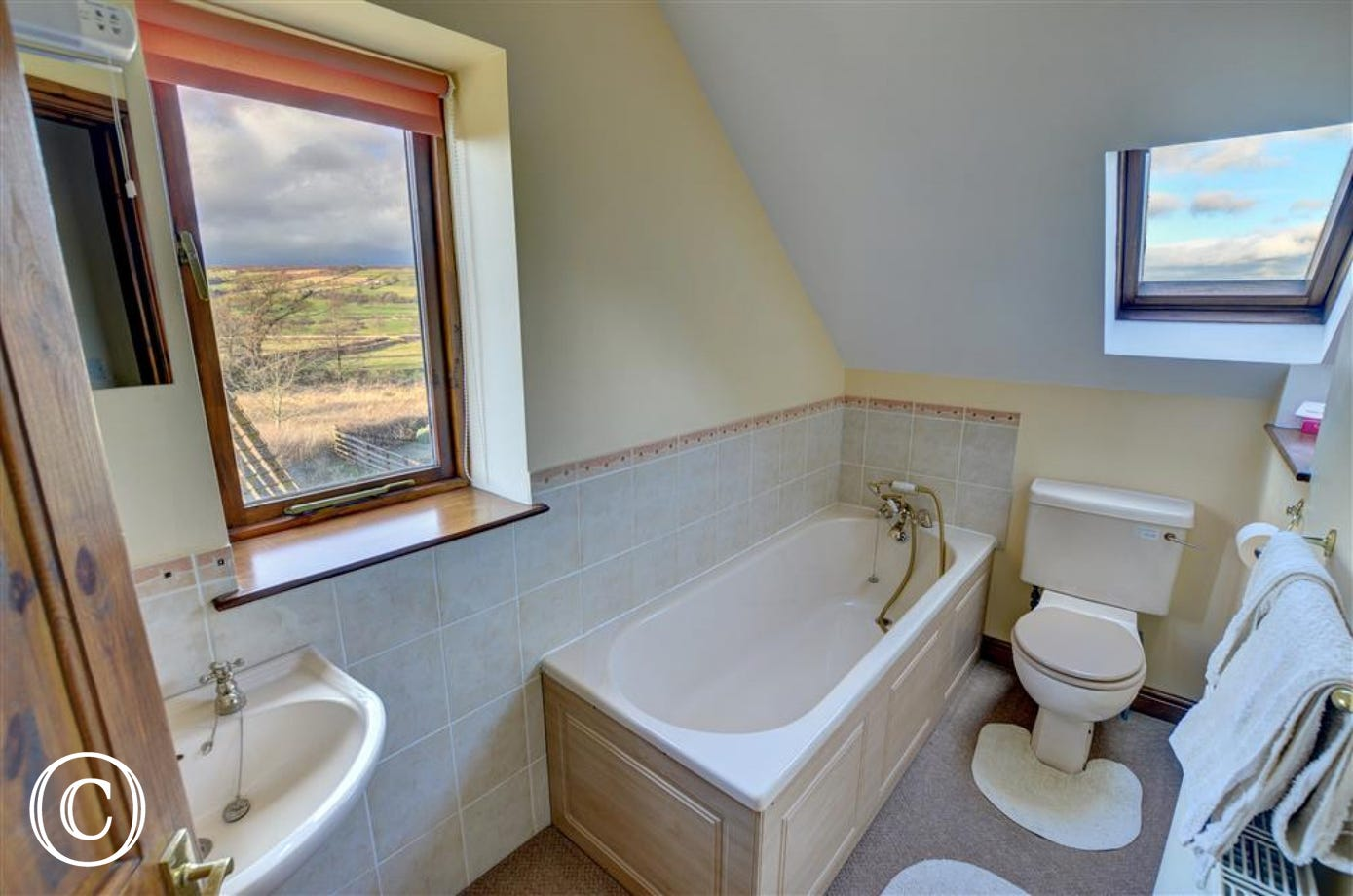 Bathroom has a bath and some great views!