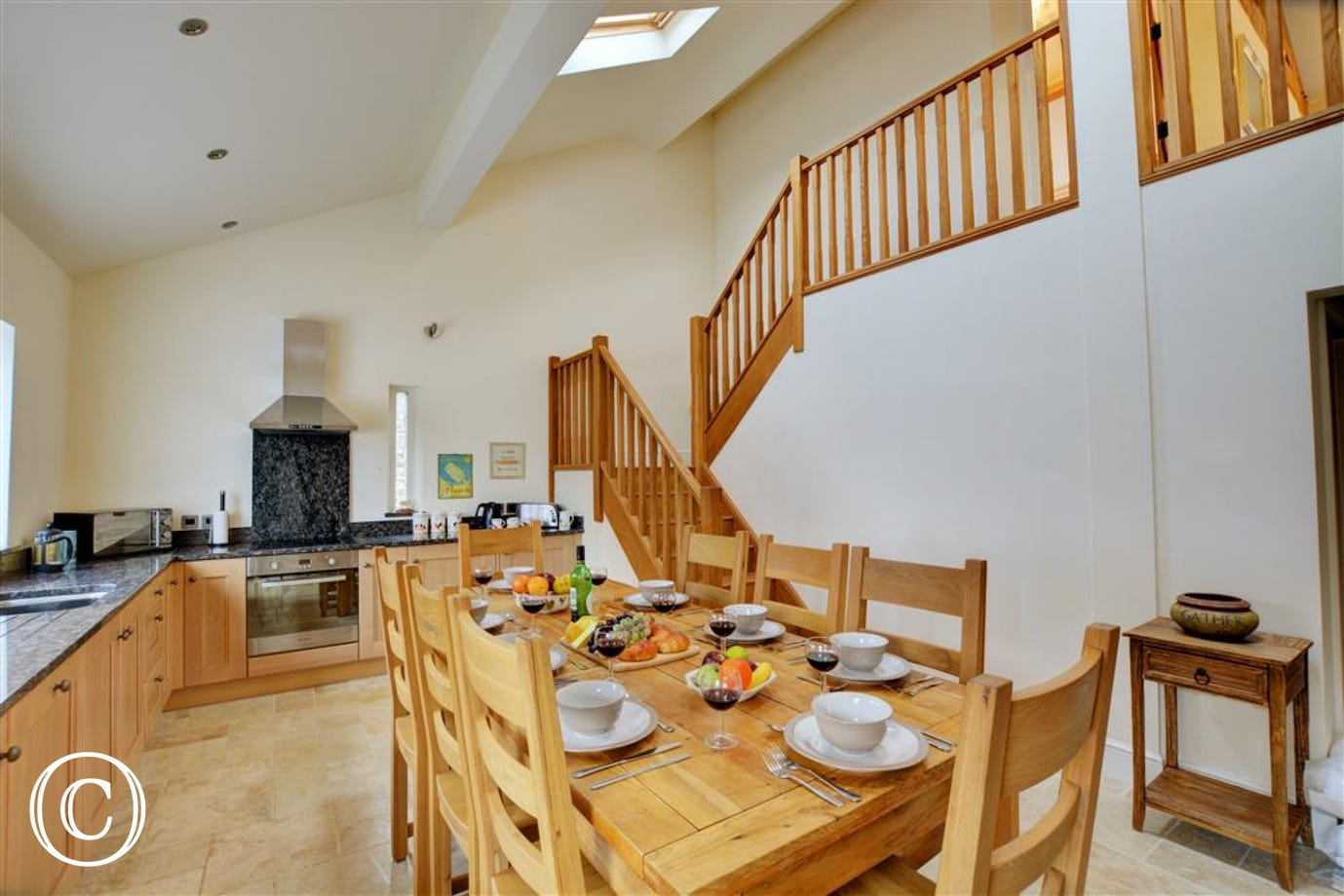 Kitchen and dining area with underfloor heating
