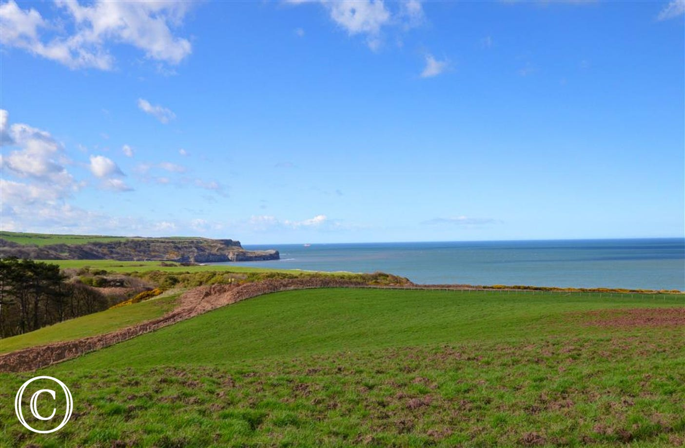 Views of the Sandsend Coast from the drive way to Moss Brow where The Mistal is located.