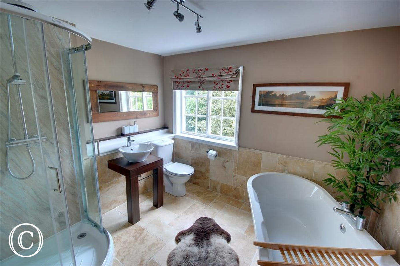 Modern Bathroom with large walk-in shower and free-standing bath.