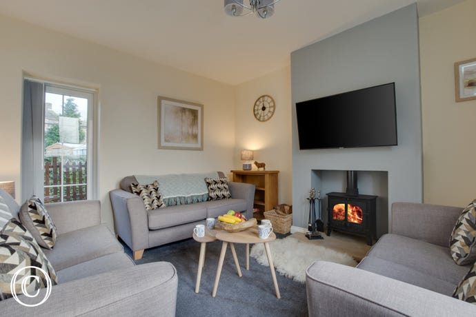 Comfortable lounge with woodburning stove andTV with Amazon Prime, Netflix and Spotify