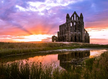 Image of Whitby Abbey at sunset