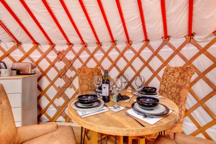 The dining area in the Mongolian Yurt